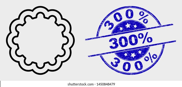Vector stroke inner gear icon and 300% seal stamp. Blue round scratched seal stamp with 300% caption. Black isolated inner gear icon in linear style.