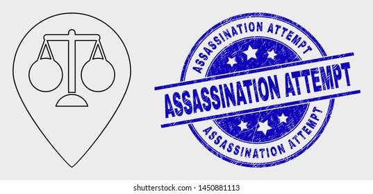 Vector stroke justice map marker pictogram and Assassination Attempt watermark. Blue rounded grunge stamp with Assassination Attempt title. Black isolated justice map marker pictogram in stroke style.