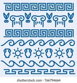 Vector stroke line repeating Greek symbol icons
