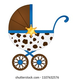 Vector stroller in cowboy style in brown and blue colors. Vector stroller for baby boy shower. Stroller vector illustration