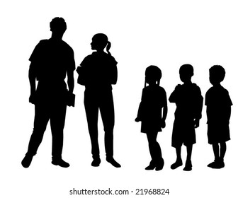 Vector of students congregating in schoolyard