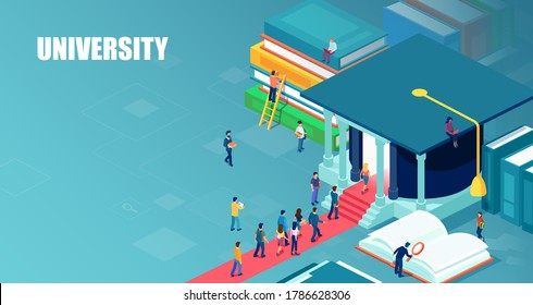 Vector of students standing in line to enter university in the form of graduation hat