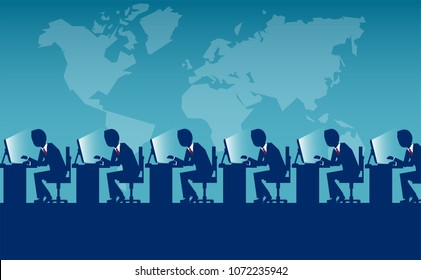 Vector style of labor force of employees sitting at desks working on computers for international company.