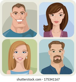 Vector style male and female portraits