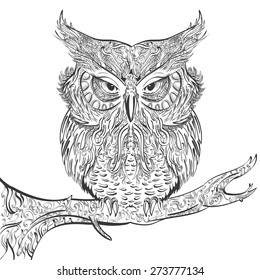 Vector stylised hand drawn owl decorated with vintage ornament black on a white background