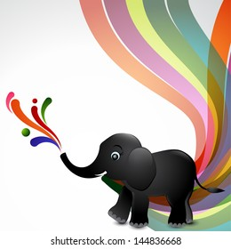 Vector stylish background of elephant with wave