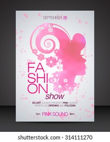 Vector stylish banner, poster and flyer template for fashion show with pink  silhouette of beautiful woman in profile with floral hair