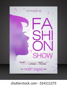 Vector Stylish Banner Poster And Flyer For Fashion Show With Purple Silhouette Of Beautiful Woman