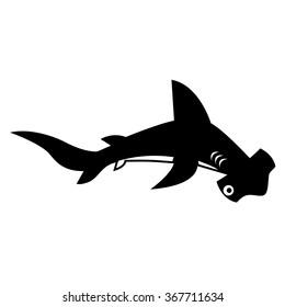 Vector Stylish Cartoon Hammerhead Shark Isolated On White Background