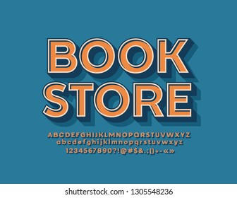 Vector stylish Emblem Book Store. Cool Font. Bright 3D Alphabet Letters, Numbers and Symbols