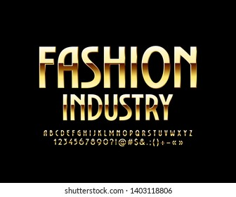 Vector stylish Emblem Fashion Industry with luxury Golden Font. Elegant Alphabet Letters, Numbers and Symbols