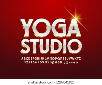 Vector Stylish emblem Yoga Studio. Elegant White and Golden Alphabet Letters, Numbers and Symbols. Bright 3D Font.
