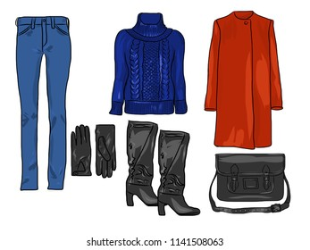 Vector stylish fashion set of woman's autumn, spring or winter clothes and accessories. Casual colorful outfit with sweater, trousers, coat, gloves, bag and boots. EPS8