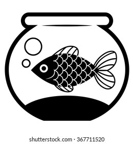 Vector Stylish Fish In A Bowl Isolated