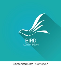 vector stylish flat design bird Icon with long shadow on stylish turquoise background. vector silhouette of bird