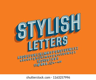 Vector Stylish Font. 3D Retro style Alphabet Letters, Numbers and Symbols