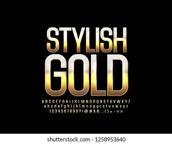 Vector Stylish Gold Font. Luxury set of Alphabet Elegant Letters, Numbers and Symbols.