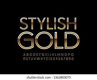 Vector stylish Golden Alphabet. Chic slim Font. Elegant Letters and Numbers.