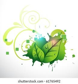 vector stylish green leaf design artwork.