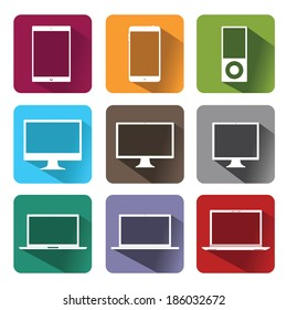 Vector stylish icons of computer equipment