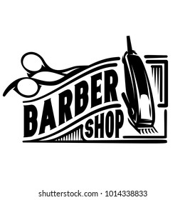 vector stylish logo for barbershop with scissors and clipper.