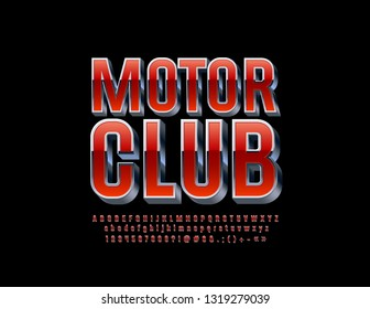 Vector stylish logo Motor Club with isometric Font. Red and Silver Alphabet Letters