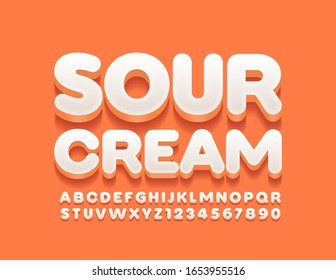 Vector stylish logo Sour Cream. Cute 3D  Font. White Uppercase Alphabet Letters and Numbers.