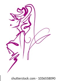 VECTOR  stylish  original hand-drawn graphics portrait  with beautiful young attractive girl model for design. Fashion, style,    beauty . Graphic, sketch drawing.