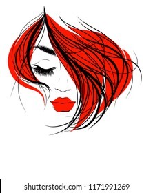 VECTOR  stylish  original hand-drawn graphics portrait  with beautiful young attractive girl model for design. Fashion, style,    beauty . Graphic, sketch drawing.   logotype