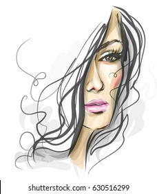 Woman Face Sketch Images Stock Photos Vectors Shutterstock