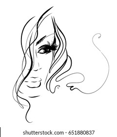 VECTOR stylish original hand-drawn graphics portrait with beautiful young attractive girl model for design. Fashion, style, beauty . Graphic, sketch drawing. Woman, girl.