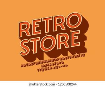Vector stylish Retro 3D Font. Rotated vintage Alphabet set.
