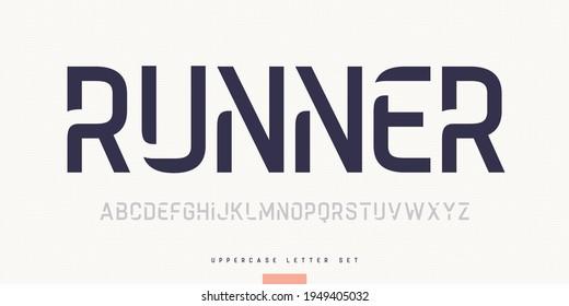 Vector stylish sans serif font, uppercase letter set, alphabet, typography.