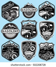 vector stylish set of badges for advertising gasoline, retro cars or moto