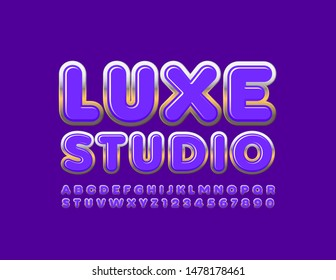 Vector stylish sign Luxe Studio with chic Uppercase Font. Violet and Gold Alphabet Letters and Numbers.