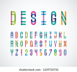 vector of stylized abstract color font and alphabet