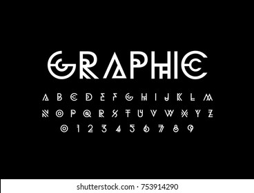Vector of stylized abstract font and alphabet