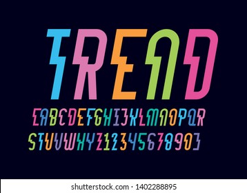 vector of stylized abstract modern color font and alphabet with shift