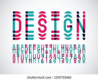 vector of stylized abstract two color font and alphabet
