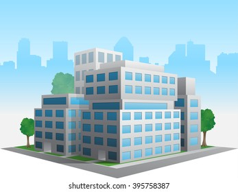 Vector stylized altered generic corporate modern office building