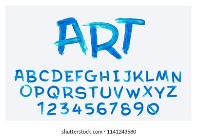 Vector stylized artistic font made ofoil brush strokes. Latin alphabet from A to Z and numbers from 0 to 9. Beautiful realistic oil style.