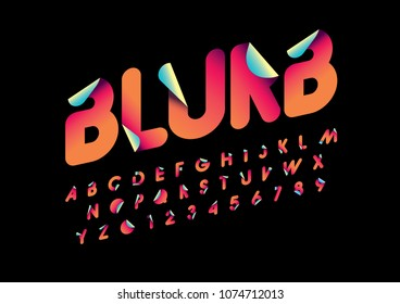 Vector of stylized blurb font and alphabet