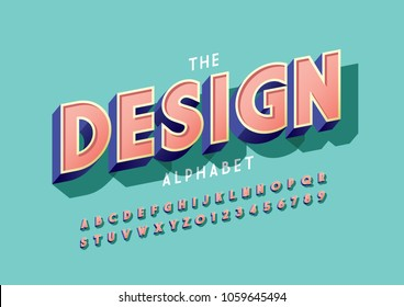 Vector of stylized bold font and alphabet set