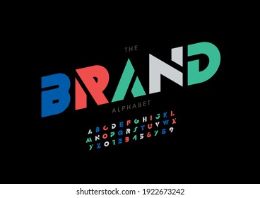 Vector of stylized brand alphabet and font