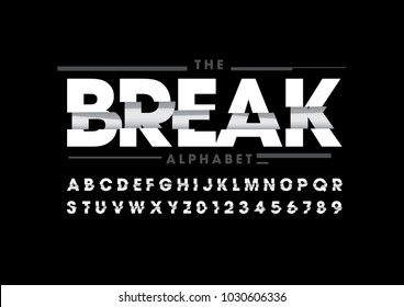 Vector of stylized broken font and alphabet