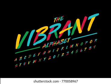 Vector of stylized brushy font and alphabet