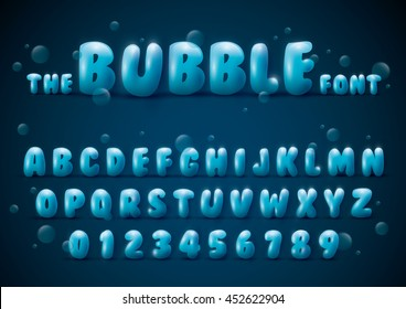 Vector of stylized bubble font and alphabet