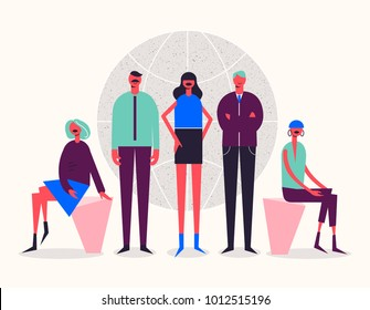 Vector stylized characters. Business illustration. Men and women near the globe. International team, social net