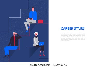 Vector stylized characters. Business illustration. Career stairs concept. Businessmen and businesswoman sitting on different levels