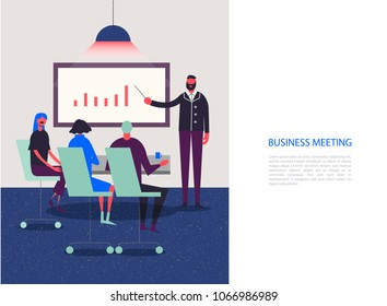 Vector stylized characters. Business illustration. Meeting, conference, analysis, working group. People sitting in the office